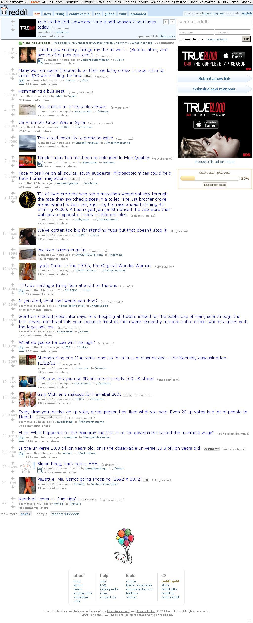Reddit at Tuesday Sept. 23, 2014, 1:15 p.m. UTC