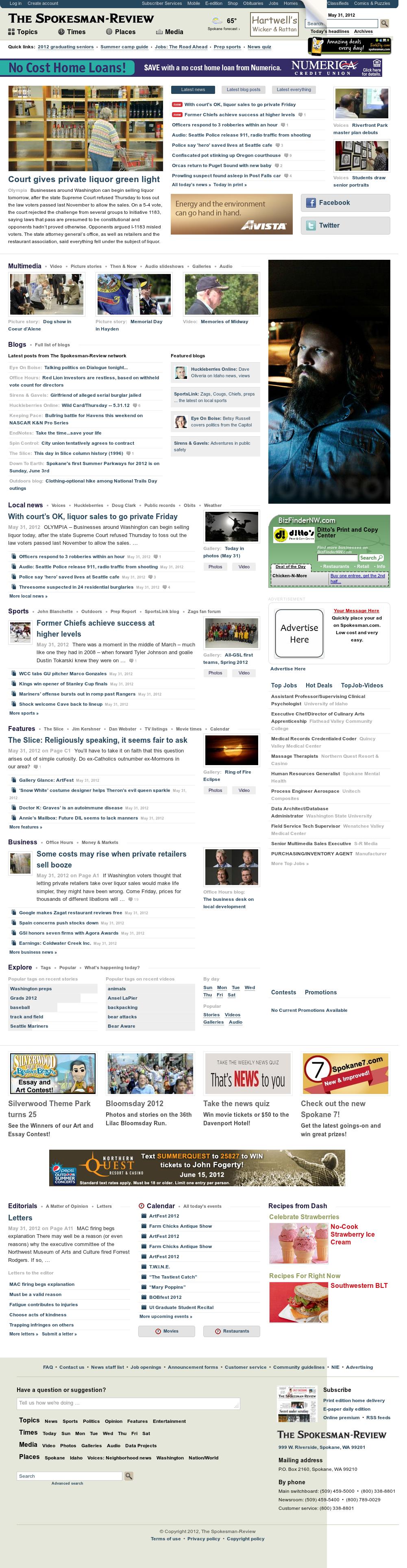 The (Spokane) Spokesman-Review at Friday June 1, 2012, 2:22 a.m. UTC