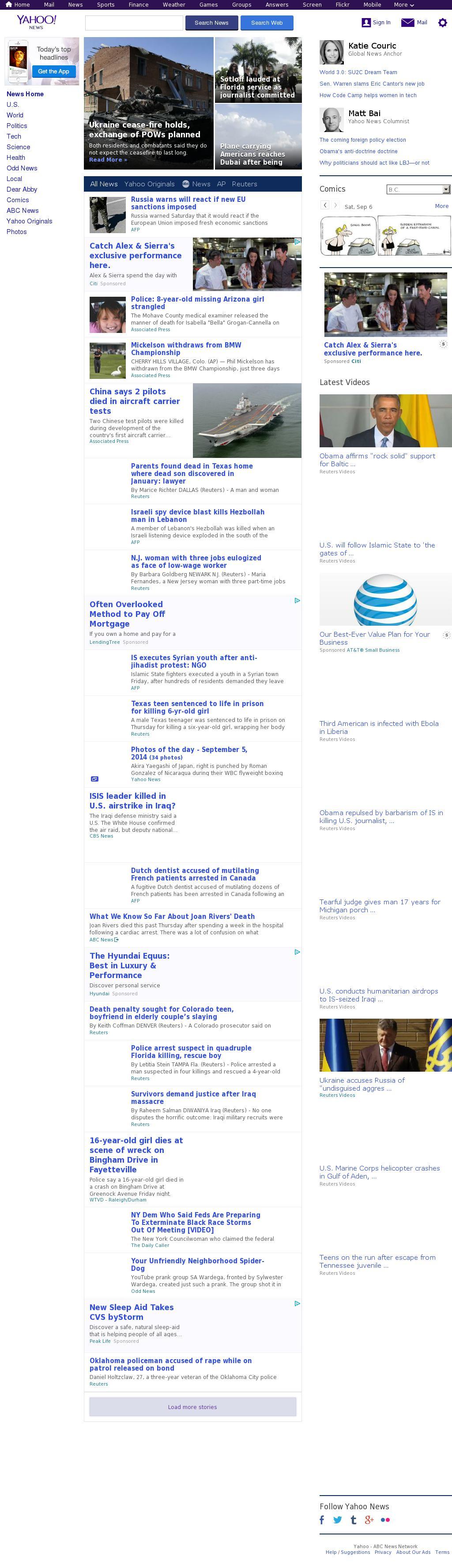 Yahoo! News at Saturday Sept. 6, 2014, 2:17 p.m. UTC