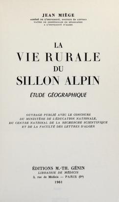 Cover of: La vie rurale du sillon alpine | Jean Louis Miège