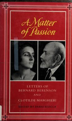 Cover of: A matter of passion | Bernard Berenson