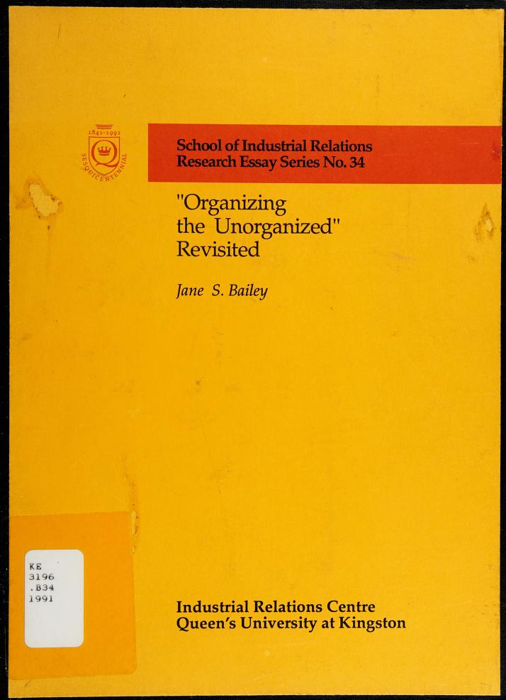 """""""Organizing the unorganized"""" revisited by Jane Suzanne Bailey"""